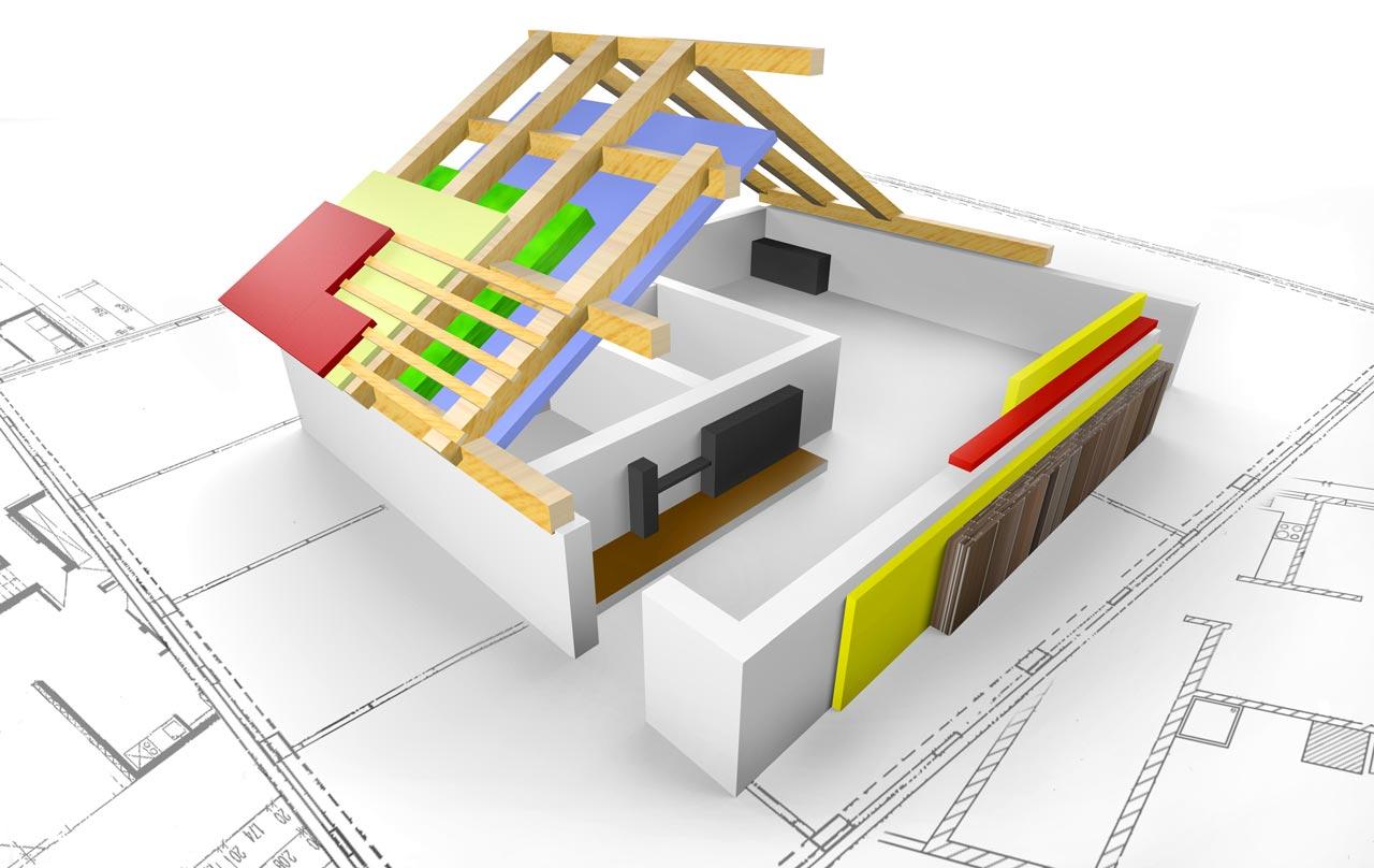 Haus mit eingezeichneten Ebenen der luftdichten Gebäudehülle