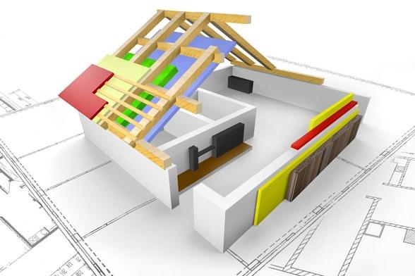 Haus mit Darstellung der luftdichten Ebene