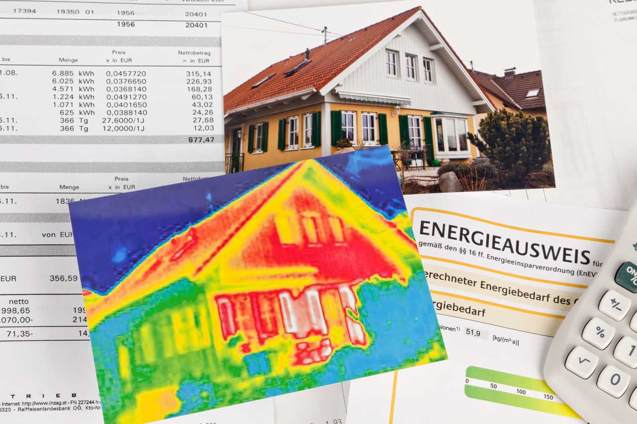 Eine Thermografie von einem Einfamilienhaus